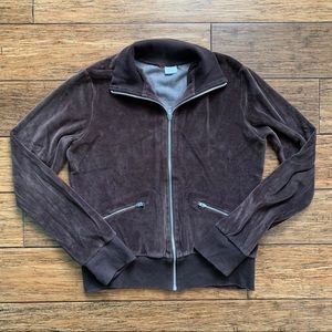 Chocolate Brown Velour Track Jacket